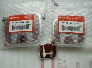06 15 4dr Sedan Jdm Red H Front Rear Steering Wheel Emblem Fit For Honda Civic
