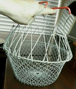 Vintage Collapsible Wire Egg Basket Mesh Folding Fruit Basket Red Rubber Handles