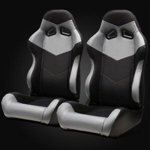 Universal Black Grey Pvc Leather Left Right Sport Racing Bucket Seats Slider