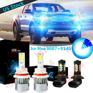 Blue 9007 9145 Led Headlight Bulb Hi lo Beam Foglight C6 For Ford Ranger 2001 11