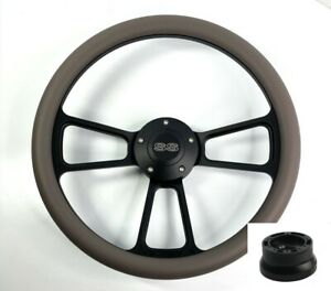 14 Black Steering Wheel dark Gray Wrap Chevy Ss Horn Button Adapter A01