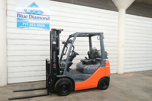 2015 Toyota 8fgu18 3 500 Pneumatic Tire Forklift Lp Gas 3 Stage 4 Way Hyd