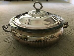 Silverplate Kent Silversmiths Casserole Serving Dish 3 Quart Pyrex