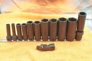 Snap On 1 2 Drive 6 Point Flank Drive Deep Impact Sae Socket Set 12 Piece Lot
