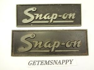 Vintage Snap On Tool Box Emblem Logo Set W posts Very Nice