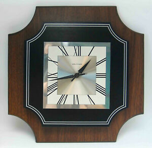 Vintage Mid Century Modern Waltham Wall Clock Wood Stainless Working
