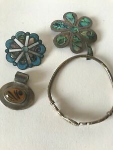 Four Piece Sterling Jewelry Lot 4 Claddagh Taxco Brooch Pendant Scrap Or Not