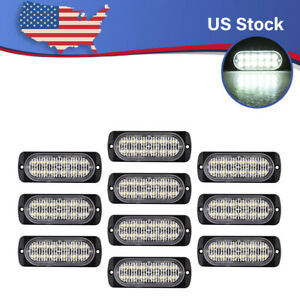 10pcs White 12led Emergency Strobe Light Bar Flash Warning Beacon Hazard Respond