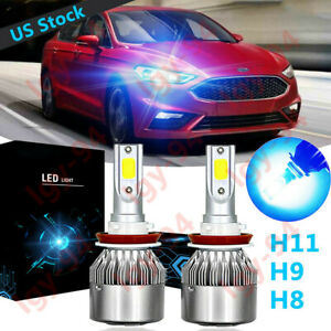Ice Blue H11 Led Headlight Bulb C6 For Ford Focus 2012 2018 Fusion 2006 2019 2pc
