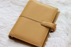 Pre Owned Filofax Personal Size Finchley Model Leather Mustard Color