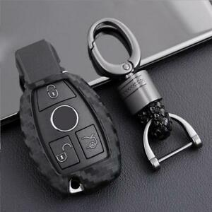 For Mercedes Benz Black Gray Abs Carbon Fiber Smart Car Key Chain Cover Case