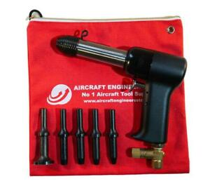 Aircraft Tools 4x Pneumatic Air Rivet Gun With 401 5pc Snap Set In Pouch