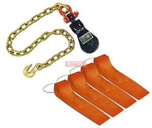 1 2 Ton 3 Snatch Block With Shackle Chain Anchor 4 Tire Skates Safety Orange