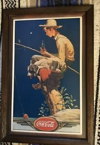 1989 Framed COCA COLA Tin Sign BOY/DOG Sitting On Stump Fishing NORMAN ROCKWELL