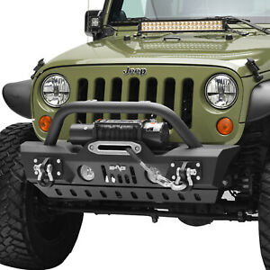 Offroad Stubby Front Bumper With Skid Plate Fit For 07 18 Jeep Wrangler Jk