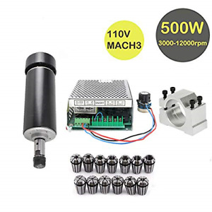 Mini Cnc Lathe Air Cooled Spindle Motor 500w 1 Set With 52mm Clamps 110v Mach3