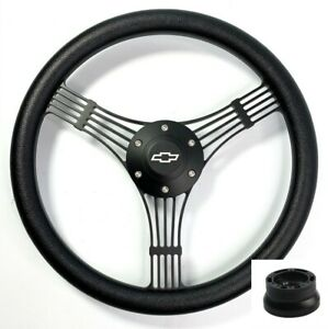 14 Black Banjo Steering Wheel Black Wrap Chevy Horn Button Adapter