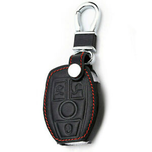 Black Genuine Leather Assesory Smart Key Cover Case Chain For Mercedes Benz 1pc