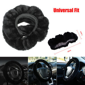 Car Accessories Black Warm Soft Fuzzy Plush Auto Steering Wheel Cover For Winter