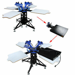 Techtongda Screen Printing Machine 3 Color 4 Station with Flash Dryer Kit New
