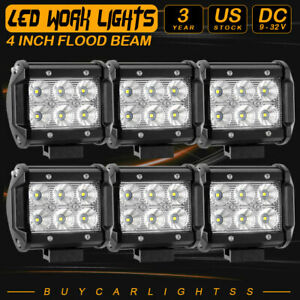6pcs 4inch 60w Led Work Light Bar Spot Offroad Atv Fog Truck Lamp 4wd 12v