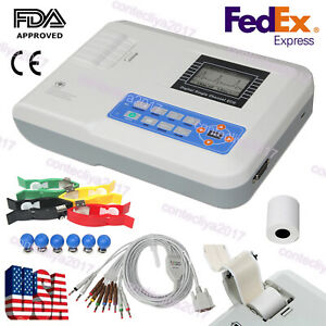 Usa Ce Digital Ecg Ekg Machine Electrocardiograph Portable 1 channel 12 Lead Fda