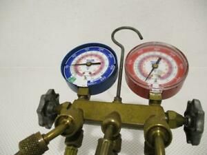 One Used Yellow Jacket Manifold Gauge And Hoses R 22 404a 410a