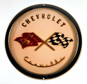 Chevy C1 Corvette Crossed Checkered Flags Emblem Steel Metal Sign 12 X12