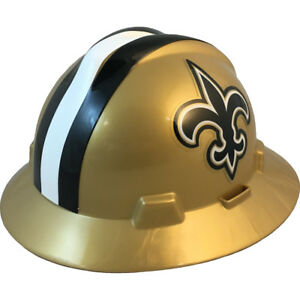 Msa V gard Full Brim New Orleans saints Nfl Hard Hat Type 3 Ratchet Suspension