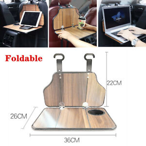 Folding Car Suv Back Seat Table Drink Food Cup Tray Holder Stand Desk Wood Grain