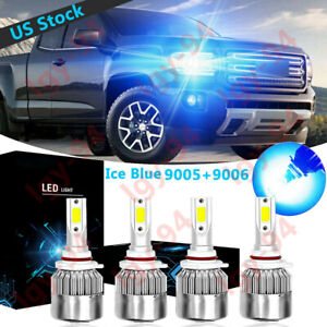 Ice Blue 9005 9006 Led Headlight Hi low C6 For Gmc Sierra 2001 06 Canyon 2004 12