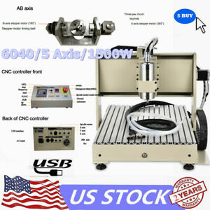 Usb 5 Axis Cnc Router Engraver 6040 Carving Milling Machine 1500w Spindle Motor