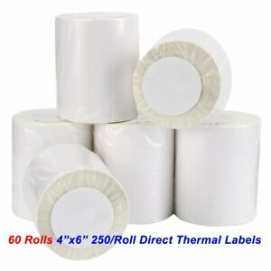 60 Rolls 4x6 Direct Thermal Shipping Labels 250 roll Zebra Lp2844 Eltron Zp450