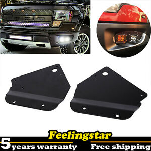 4x 3 Led Fog Lights Pods Hidden Bumper Bracket For 10 14 Ford F 150 Raptor