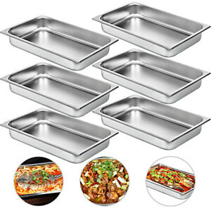 6 Pack Full Size Food Pan Stainless Steel 2 Deep Steam Prep Table Bain Marie