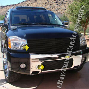 For 2004 2005 2006 2007 Nissan Titan armada 2pc Black Grille Combo Replacements