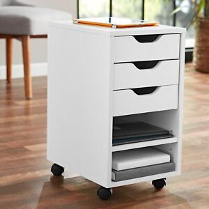 White Rolling Wooden File Cabinet 3 Drawer 2 Shelf Home Office Utility Cart New