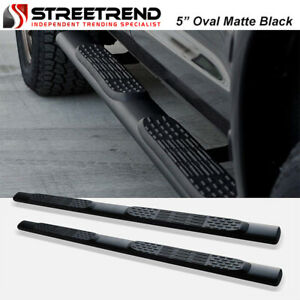 For 2019 2020 Dodge Ram 1500 Crew 5 Oval Matte Blk Side Step Bars Running Board