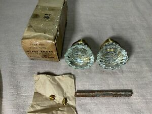 Baldwin 050 Vintage New Old Glass Door Knobs 2 Fluted 12 Pt Dull Brass Finish