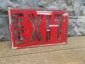 Exit Vintage Glass Sign Art Deco Exit Display Sign Safety Sign