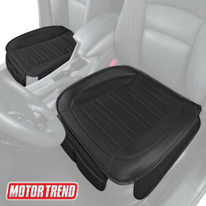 Motor Trend Universal Car Front Seat Cushion Black Faux Leather 2 Pack