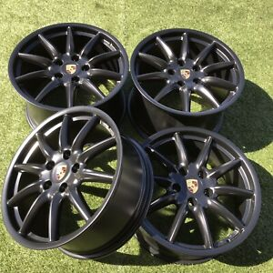 19 Porsche Carrera S 911 997 Rims Stock Oem Set Black Wheels