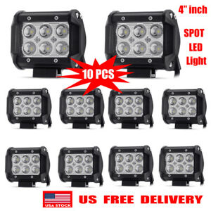 400w 4inch 10pcs Cree Led Work Lights Pod Spot Flood Combo Offroad Driving Light