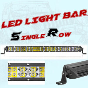 20 300w Cree Led Light Bar Single Row Super Slim Combo 6000k Driving Atv Utv