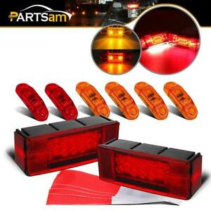 2xrectangle Stop Turn Tail Lights W 6xred yellow 2 57 Side Marker Truck Trailer