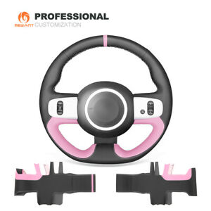 Mewant Black Pink Leather Steering Wheel Cover For Renault Twingo 3 2014 2019
