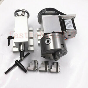 Cnc Router Rotational Rotary Axis A axis 4th axis 100mm 3 jaw Chuck Tailstock