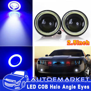 2 5 Inch Led Fog Light Projector Driving Lamp Cob Angel Eye Halo Ring Kit Blue
