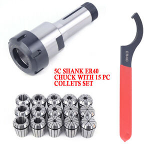 Er40 Collet Chuck 5c Shank With 15 Pc Collets Set Wrench