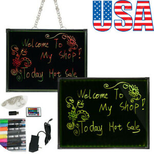 32x24 Flashing Illuminated Erasable Neon Led Message Menu Sign Writing Board Us